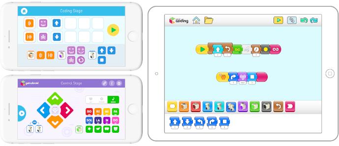 Screenshoty aplikace ke stavebnici Cubroid na mobilu a tabletu