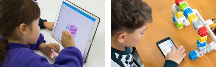 Děti programují své Cubroid výtvory v mobilu a na tabletu