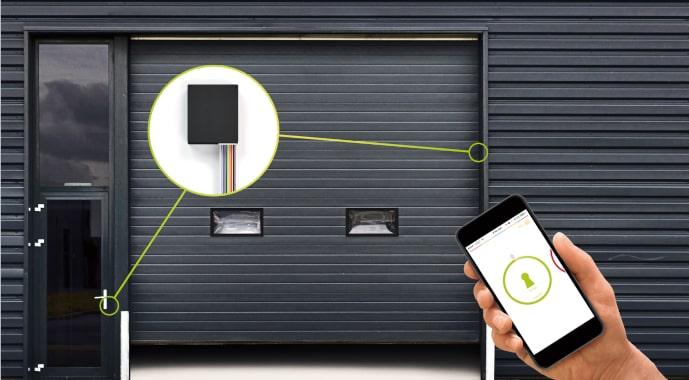 Danalock Univerzální modul – schéma otevírání vchodových dveří a garáže přes Z-Wave centrálu a mobil