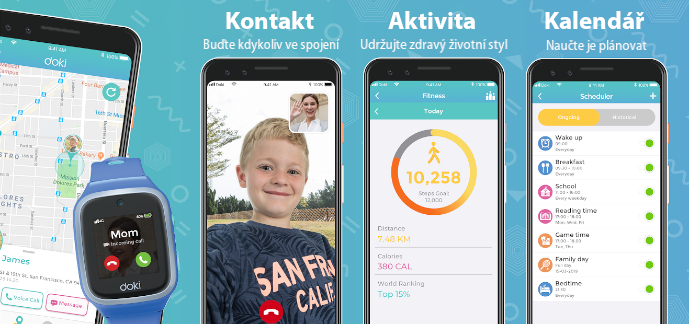 ukázky funkcí aplikace doki kids – fitness tracker, kalendář, videohovory