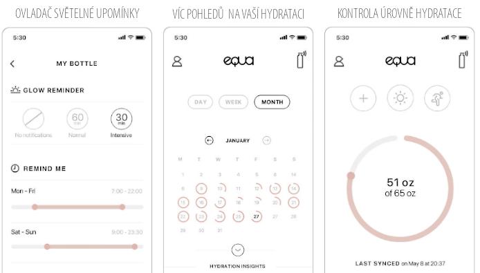 ukázka aplikace Equa k chytré lahvi