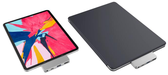 HyperDrive 4 v 1 USB-C Hub pro iPad Pro 2018 lze použít se smart obalem i bez