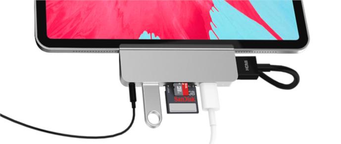 HyperDrive 6-in-1 USB-C Hub pro iPad Pro – stříbrný, obsazené zástrčky