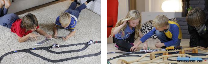 Intelino Smart Train – Chytrý nabíjecí elektrický vláček s dráhou - děti při hře