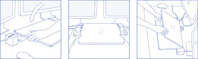 uchycení MacBooku Pro do dokovací stanice LandingZONE DOCK PRO