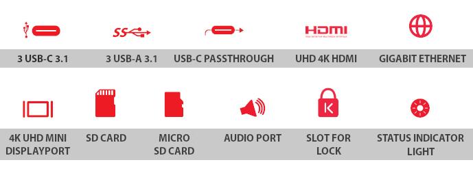 """LandingZONE DOCK PRO – MacBook Pro Retina 15"""" Touch bar – přehled portů, slotů a funkcí"""