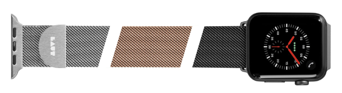 LAUT Steel Loop – pásek na Apple Watch 38/40 mm, milánský tah, barvy stříbrná, tmavě šedá, zlatá