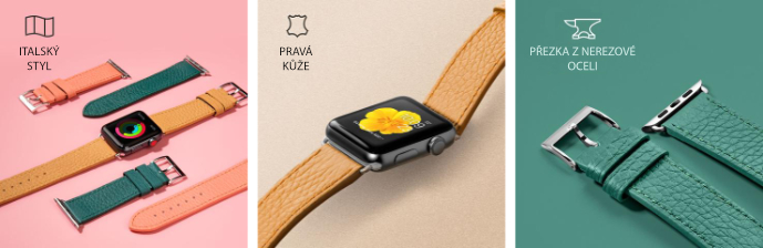 LAUT Milano – kožený řemínek na Apple Watch 38/40 mm