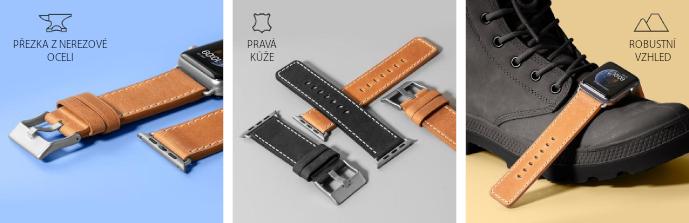 LAUT Safari – kožený řemínek na Apple Watch 42/44 mm