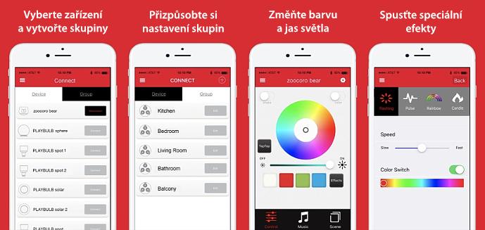 screenshoty a funkce aplikace Playbulb X