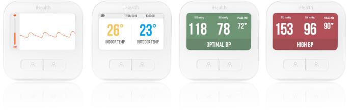displej tlakoměru Clear zobrazuje srdeční křivku, údaje meteorologické stanice a barevné odlišení naměřených výsledků