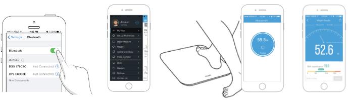 Vážení a analýza na iHealth FIT s použitím smartphonu