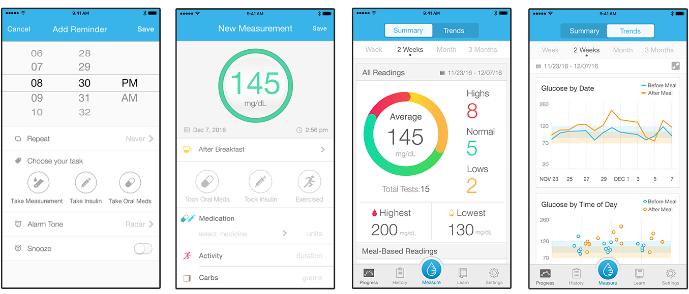 Prostředí aplikace Gluco Smart - barevně odlišené grafy usnadňují orientaci v dlouhodobých trendech léčby