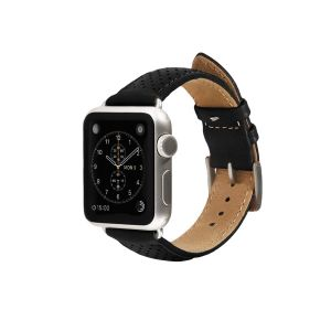 Monowear Perforated Leather Band pro Apple Watch – černá, Silver, 42 – 44 mm