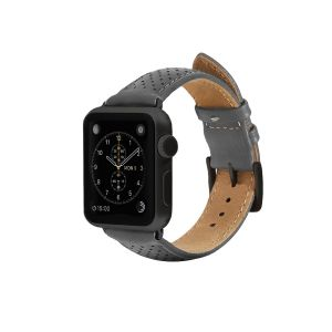 Monowear Perforated Leather Band pro Apple Watch – šedá, Dark Gray, 42 – 44 mm