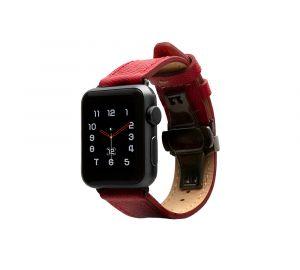 Monowear Saffiano Leather Band pro Apple Watch – červená, Dark Gray, 42 – 44 mm