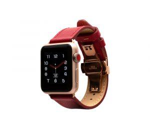Monowear Saffiano Leather Band pro Apple Watch – červená, Gold, 38 – 40 mm