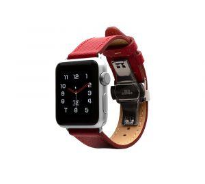 Monowear Saffiano Leather Band pro Apple Watch – červená, Silver, 38 – 40 mm