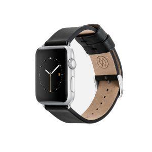 Monowear Leather Band pro Apple Watch –  černá, Silver 42 – 44 mm