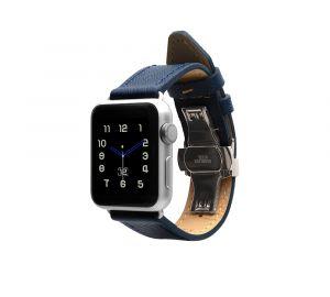 Monowear Saffiano Leather Band pro Apple Watch – modrá, Silver, 38 – 40 mm