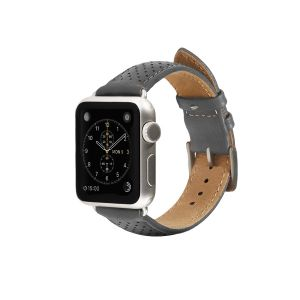 Monowear Perforated Leather Band pro Apple Watch – šedá, Silver, 42 – 44 mm