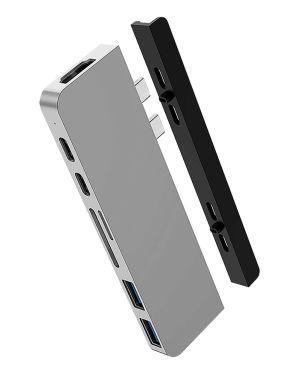 HyperDrive DUO 7 ve 2 USB-C Hub na MacBook Pro / Air, stříbrný