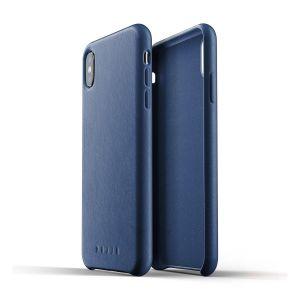 MUJJO Full Leather Case pro iPhone X a Xs - modrý