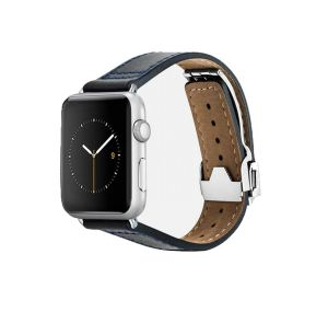 Monowear Leather Band s překlápěcí sponou pro Apple Watch – tmavě modrá, Silver, 42 – 44 mm