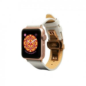 Monowear Saffiano Leather Band pro Apple Watch – bílá, Gold, 38 – 40 mm