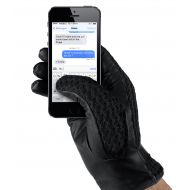 MUJJO Kožené háčkované dotykové rukavice - velikost 8,5 - černé