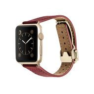 Monowear Red Leather Deployant Band pro Apple Watch - Gold Luxury 38 mm