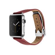 Monowear Red Leather Deployant Band pro Apple Watch - Stainless Steel 42 mm