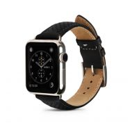 Monowear Black Perforated Leather Band pro Apple Watch - Silver Polished 42 mm