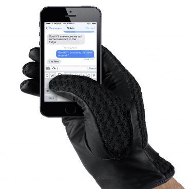 MUJJO Kožené háčkované dotykové rukavice - velikost 8 - černé