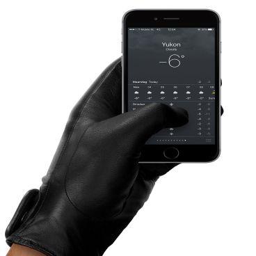 MUJJO Kožené dotykové rukavice - velikost 8,5 - černé
