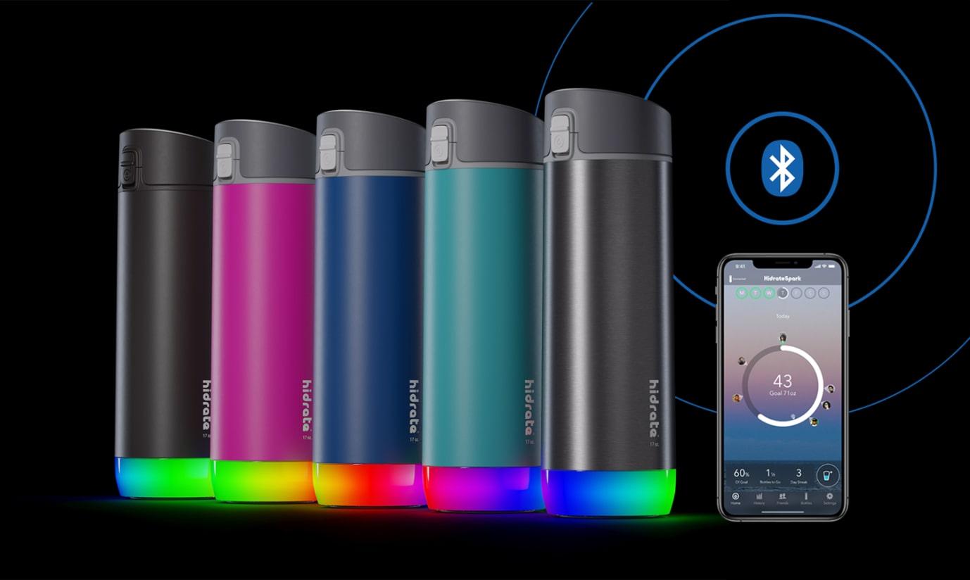 HidrateSpark – Stainless Steel Smart Bottle with Straw, 620 ml, Bluetooth Tracker