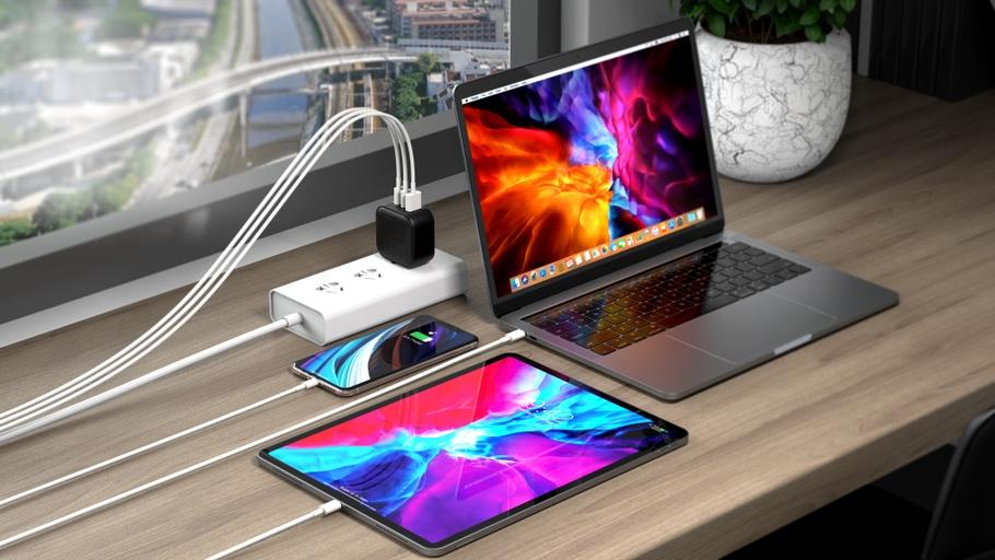 HyperJuice 66W GaN USB nabíjecí adaptér nabíjí telefon, tablet a notebook