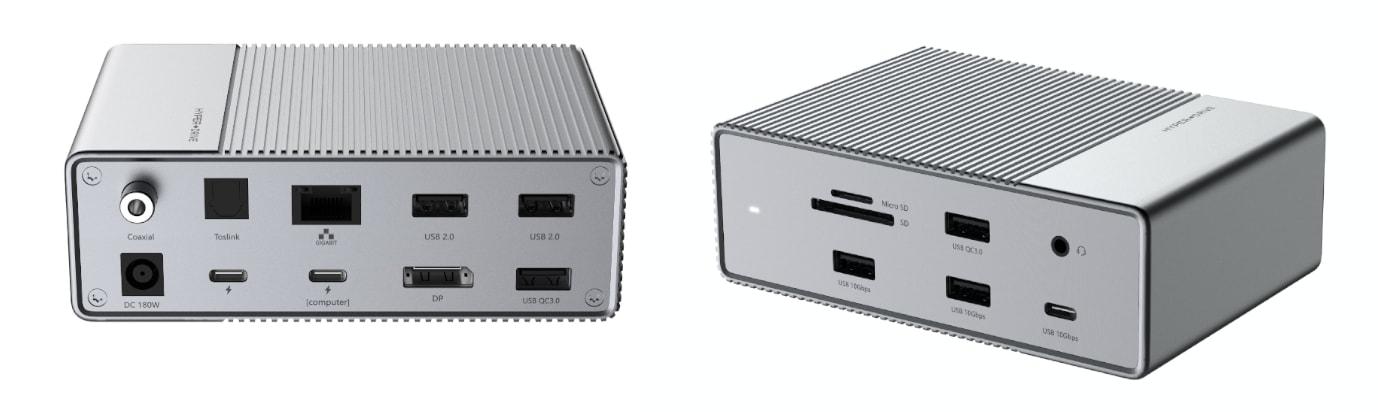 HyperDrive GEN2 16 v 1 Thunderbolt 3 hub, back and front side