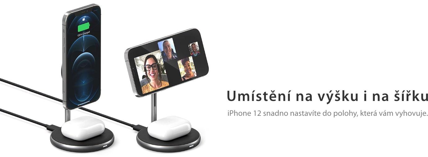 bezdrátová magnetická nabíječka na iPhone 12 na výšku i na šířku