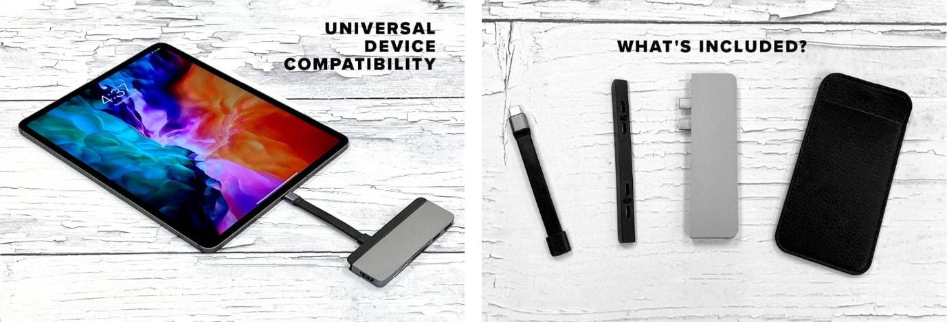 HyperDrive DUO je kompatibilní s jakýmkoliv USB-C zařízením, s pouzdrem, USB-C kabelem a magnetickou lištou v balení