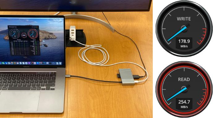HyperDrive hub s rychlostí přenosu z SD karty UHS-II ~ 300 Mb/s