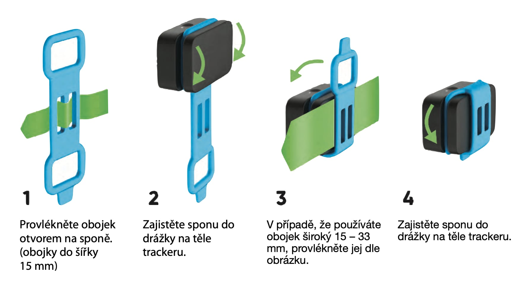 postup uchycení spony na Invoxia GPS Tracker