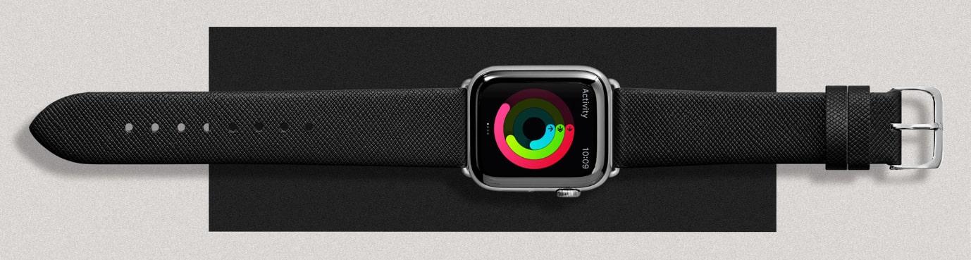 LAUT Prestige – kožený řemínek na Apple Watch 42/44 mm v černé barvě