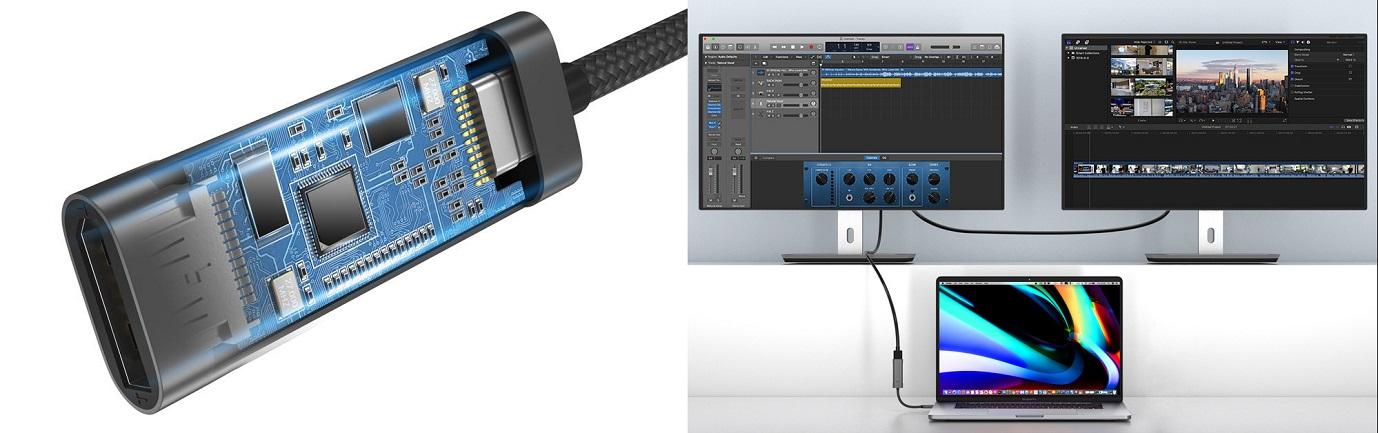 tomtoc USB-C – DisplayPort 1.4 adaptér, 4K@60/120Hz