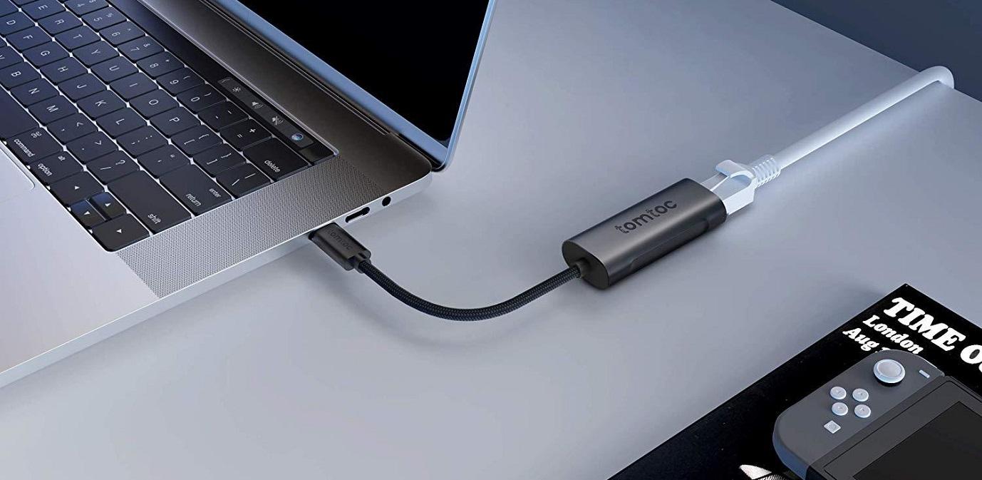 tomtoc USB-C – Gigabit Ethernet adaptér, 1000 Mb/s, Thundebolt 3